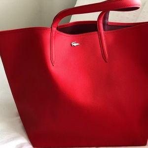 Lacoste Large Red Reversible Tote Bag